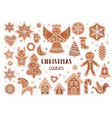 set of christmas cookies in cartoon style vector image vector image