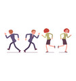 set of male and female office workers running vector image vector image