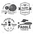 set of paddle tennis badge emblem or sign vector image