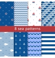 Set of seamless sea patterns vector image vector image
