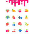 set simple icons fruits vector image vector image