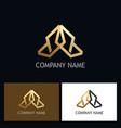 shape arrow geometry gold logo vector image