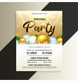 shiny christmas party flyer template with 3d balls vector image