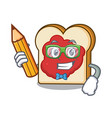 student bread with jam character cartoon vector image