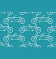 tandem bicycle seamless pattern white vintage vector image vector image