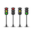 traffic lights with all three colors vector image