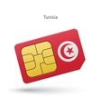 Tunisia mobile phone sim card with flag vector image vector image