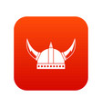 viking helmet icon digital red vector image
