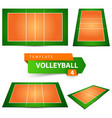 volleyball court four items template vector image
