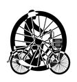 Wheel of ride Bicycle Silhouette vector image vector image