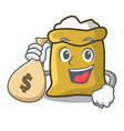 with money bag flour character cartoon style vector image vector image