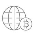 world economy thin line icon globe and bitcoin vector image vector image