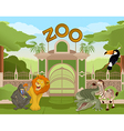 Zoo gate with african animals 2 vector image vector image