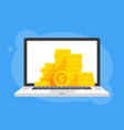 gold coins stack dollar symbol in laptop notebook vector image