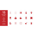 15 lock icons vector image vector image