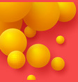3d yellow balls on the red background abstract vector image vector image
