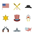 Attractions of USA icons set flat style vector image vector image