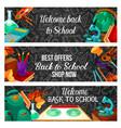 back to school special offer sale banner design vector image vector image