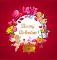 be my valentine love hearts and cupid angels vector image