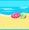 beach ball sea vector image vector image