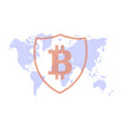 bitcoin protection on the background map vector image