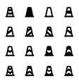 black traffic cone icon set vector image vector image