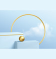blue product podium showcase on background vector image vector image