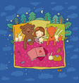 cartoon girl sleeping in bed baby and toys vector image vector image