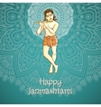 cartoon of Lord Krishana in Happy vector image