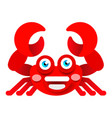 cheerful crab on white background vector image vector image