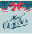 christmas card with fir branches and candy canes vector image vector image