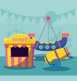 circus tent sale ticket with cannon vector image vector image