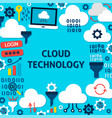 cloud technology paper template poster vector image vector image