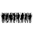crowd silhouette people group shadow silhouettes vector image vector image