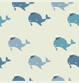 cute whale with hat pattern vector image
