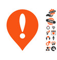 danger map pointer icon with love bonus vector image vector image