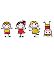 Doodle happy kids group isolated on white vector | Price: 1 Credit (USD $1)