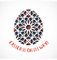 easter greeting card with ornamental egg vector image vector image
