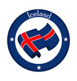 flag of iceland on a label vector image