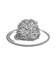 fried noodles chinese cuisine outline icon vector image