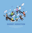 gadget addiction isometric concept vector image vector image