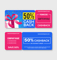 gift voucher money certificate cards cashback vector image vector image