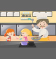 girls and chef cooking in kitchen vector image