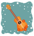 guitar with flowers hippie culture vector image vector image