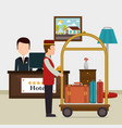 hotel workers avatars characters vector image