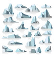 iceberg with reflection or shade icy peaks vector image