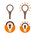 key and lock shaped bulb icons vector image vector image