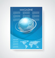 Magazine or brochure cover with world map and vector image vector image