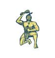 Maori Warrior Wielding Patu Kneeling Etching vector image vector image