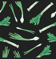 natural seamless pattern with leek on black vector image vector image